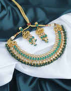 Green Colour Antique Gold Finish Studded With Stones Necklace For Bride
