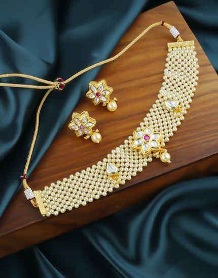 Floral Design Pearls Styled Chokar Necklace For Girls