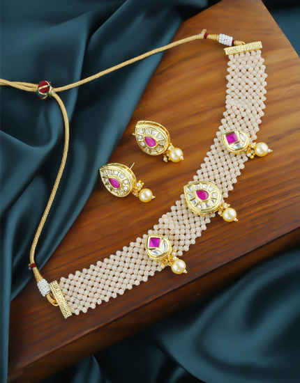 Pink Colour Gold Finish Kundan Chokar Necklace For Women