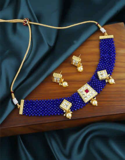 Navy Blue Colour Adorable Beads Styled Chokar Necklace