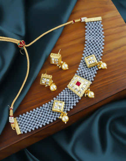 Grey Colour Gold Finish Studded With Kundan Beads Chokar Necklace