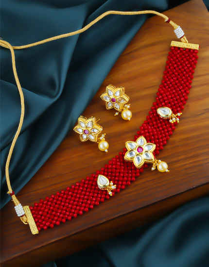 Red Colour Floral Design Gold Finish Kundan Necklace Jewellery