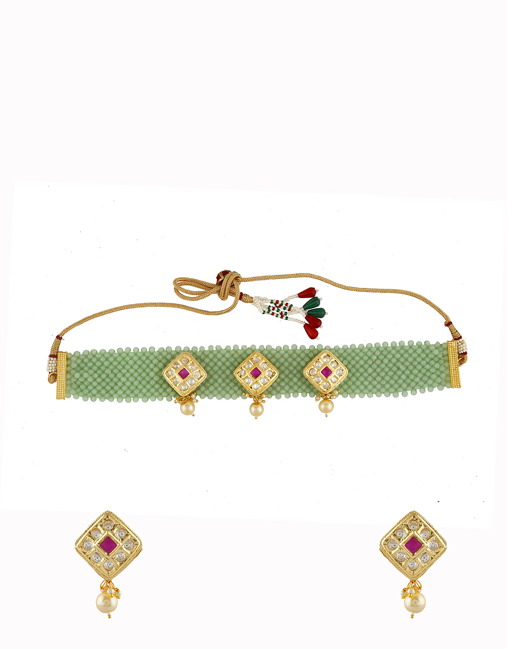 Pista-Green Colour Gold Finish Fancy Kundan Necklace For Girls