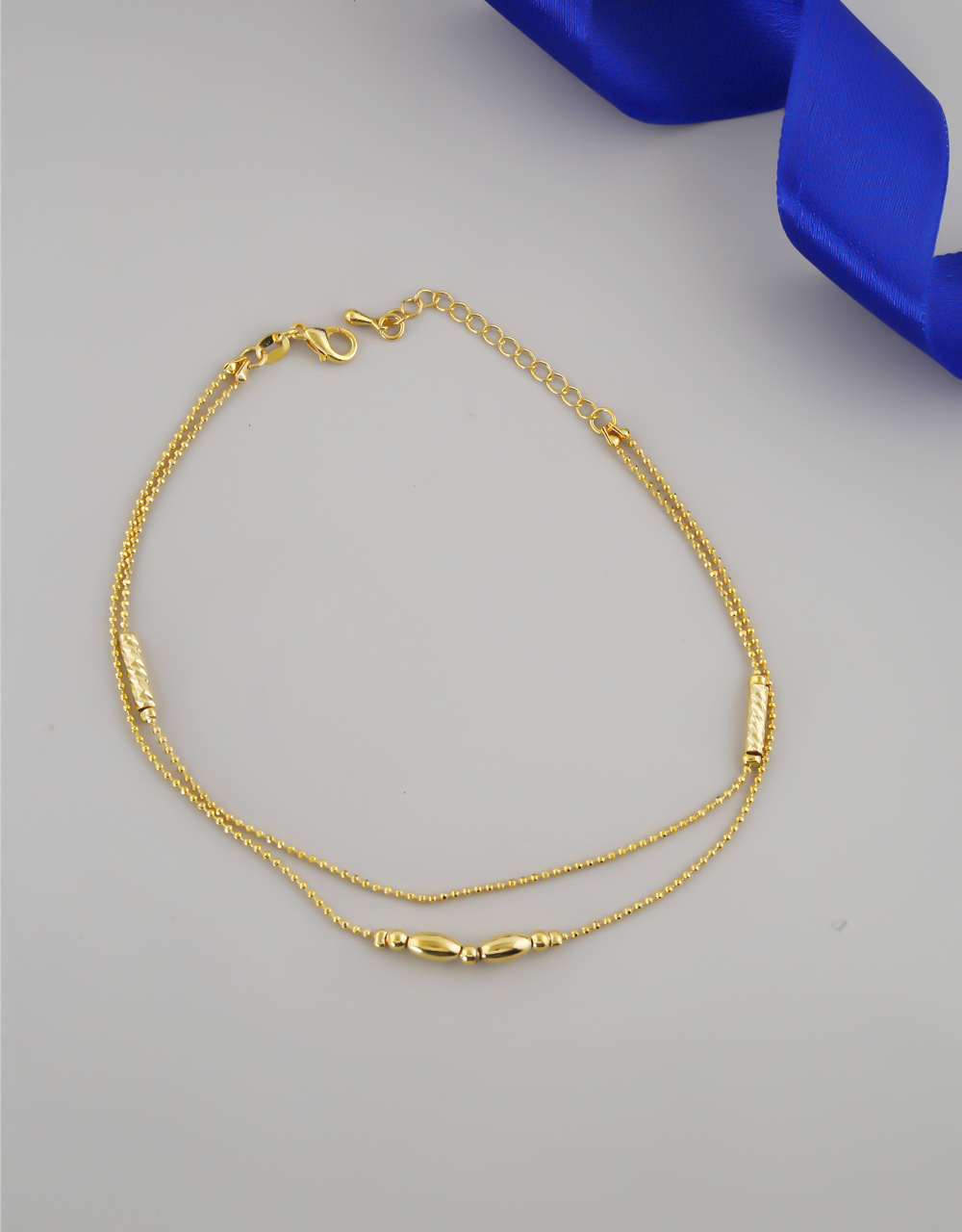 Gold Finish Layered Anklet For Girls Trendy