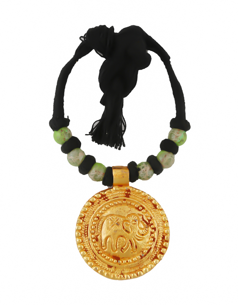 Green Colour Gold Finish Black Thread Geru Necklace