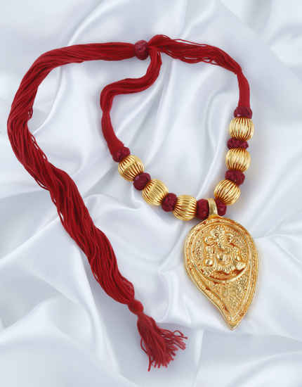 Red Colour Fancy Gold Finish Necklace For Women