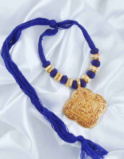 Blue Colour Fancy Gold Finish Thread Jewellery Necklace For Women