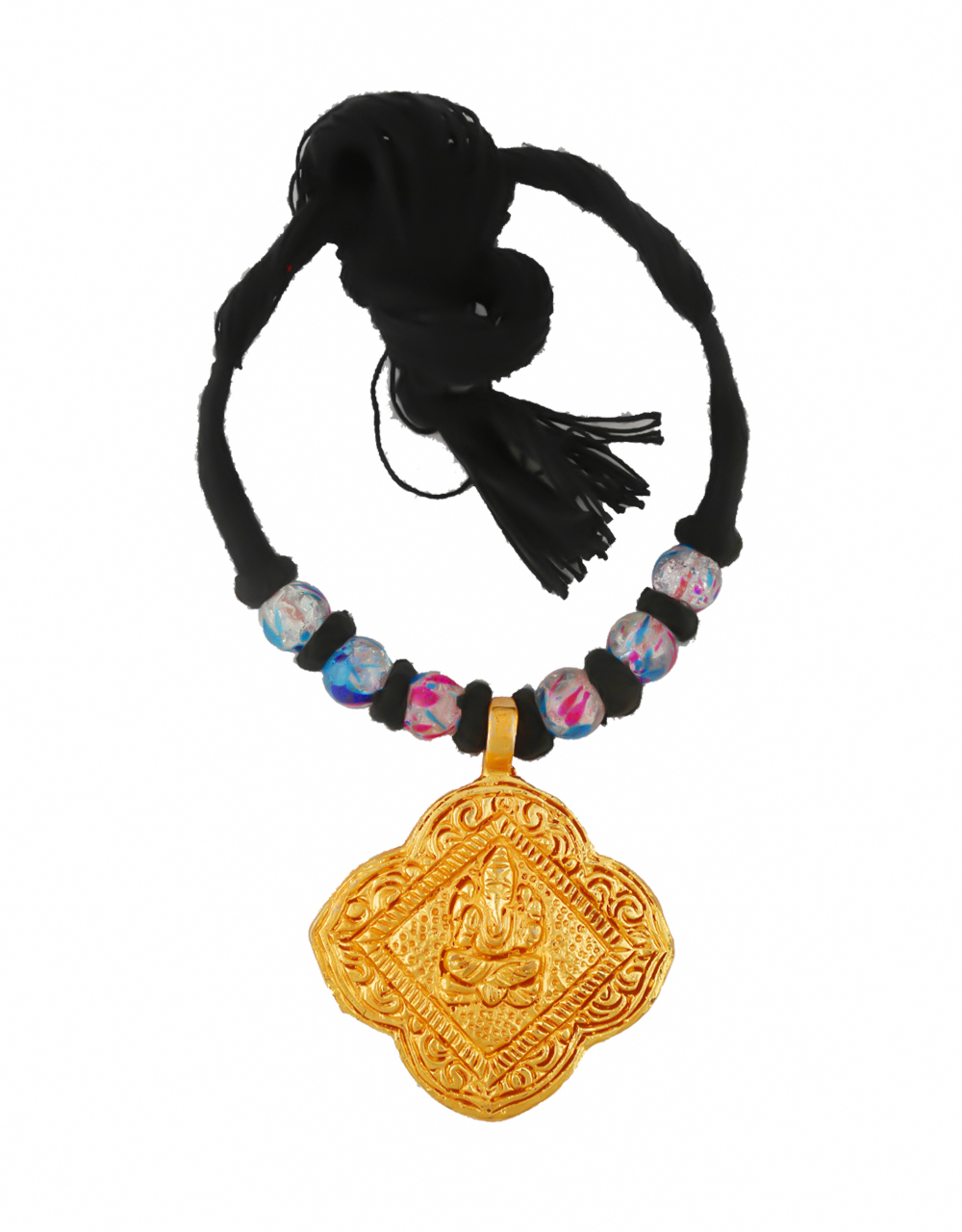 Black Colour Styled With Beads Geru Necklace For Women