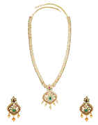 Peacock Design Gold Finish Multi Colour Stunning Long Necklace