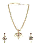 Multi Colour Fancy Gold Finish Styled With Pearls Beads Long Necklace