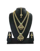 Simple Gold Finish American Diamond Fancy Necklace Jewellery For Girls