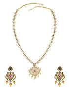 Fancy Multi Colour American Diamond Long Necklace For Women