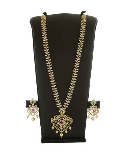 Fancy Multi Colour American Diamond Long Necklace For Women