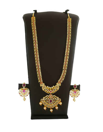 Pink Colour Gold Finish Styled With Pearls Beads Stunning Long Necklace