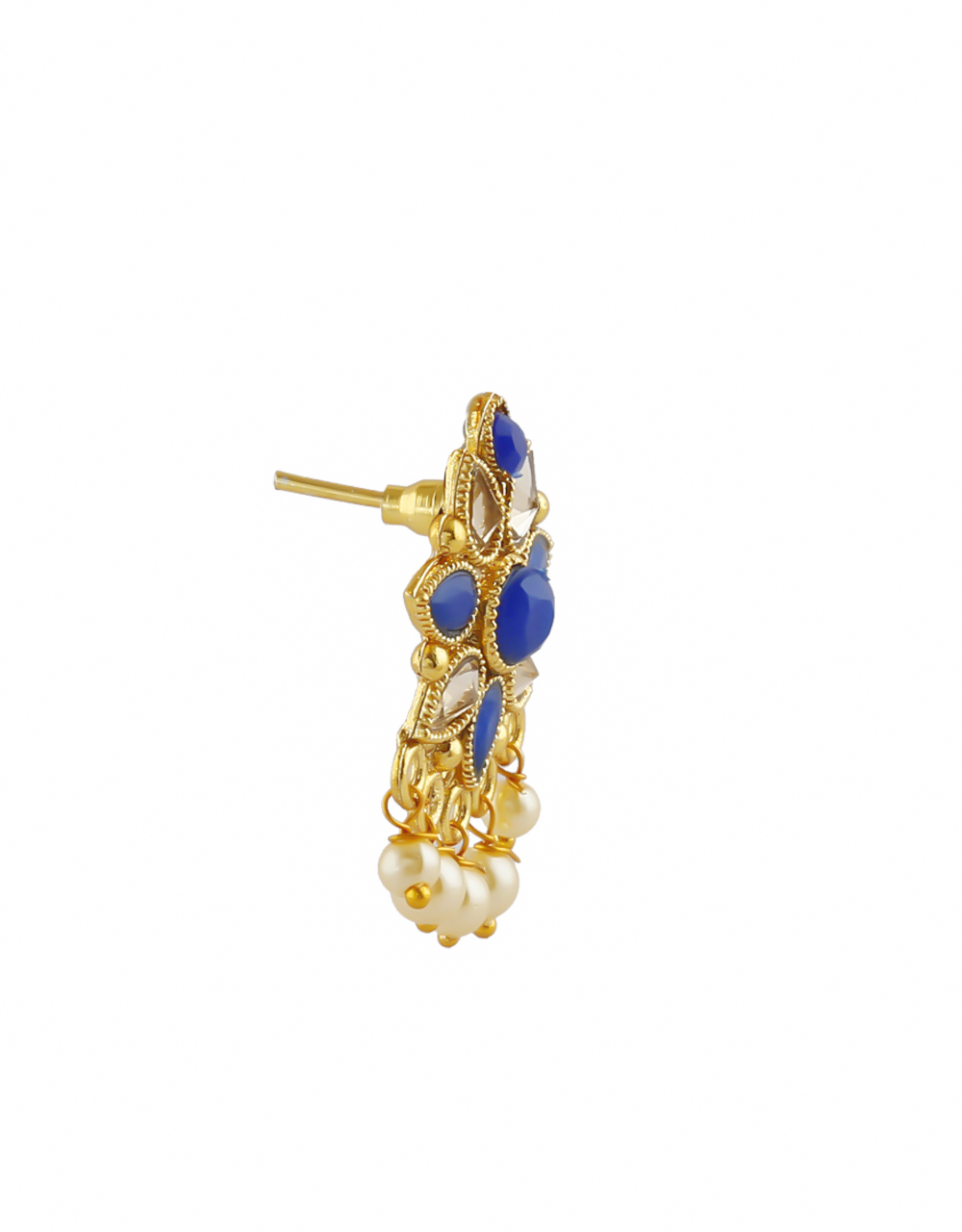 Blue Colour Gold Finish Studded With Stones Fancy Necklace