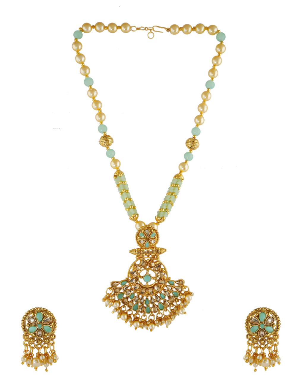 Green Colour Adorable Gold Finish Necklace Pendant Set Jewellery