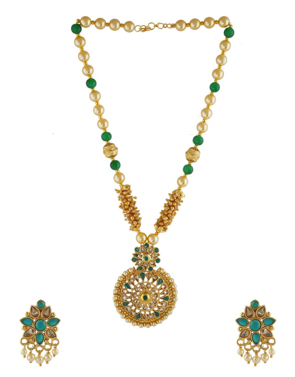 Round Shape Green Colour Floral Design Stunning Pendant Set