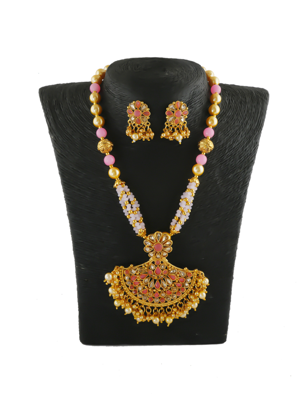 Pink Colour Fancy Gold Finish Styled With Pearls Beads Fancy Necklace