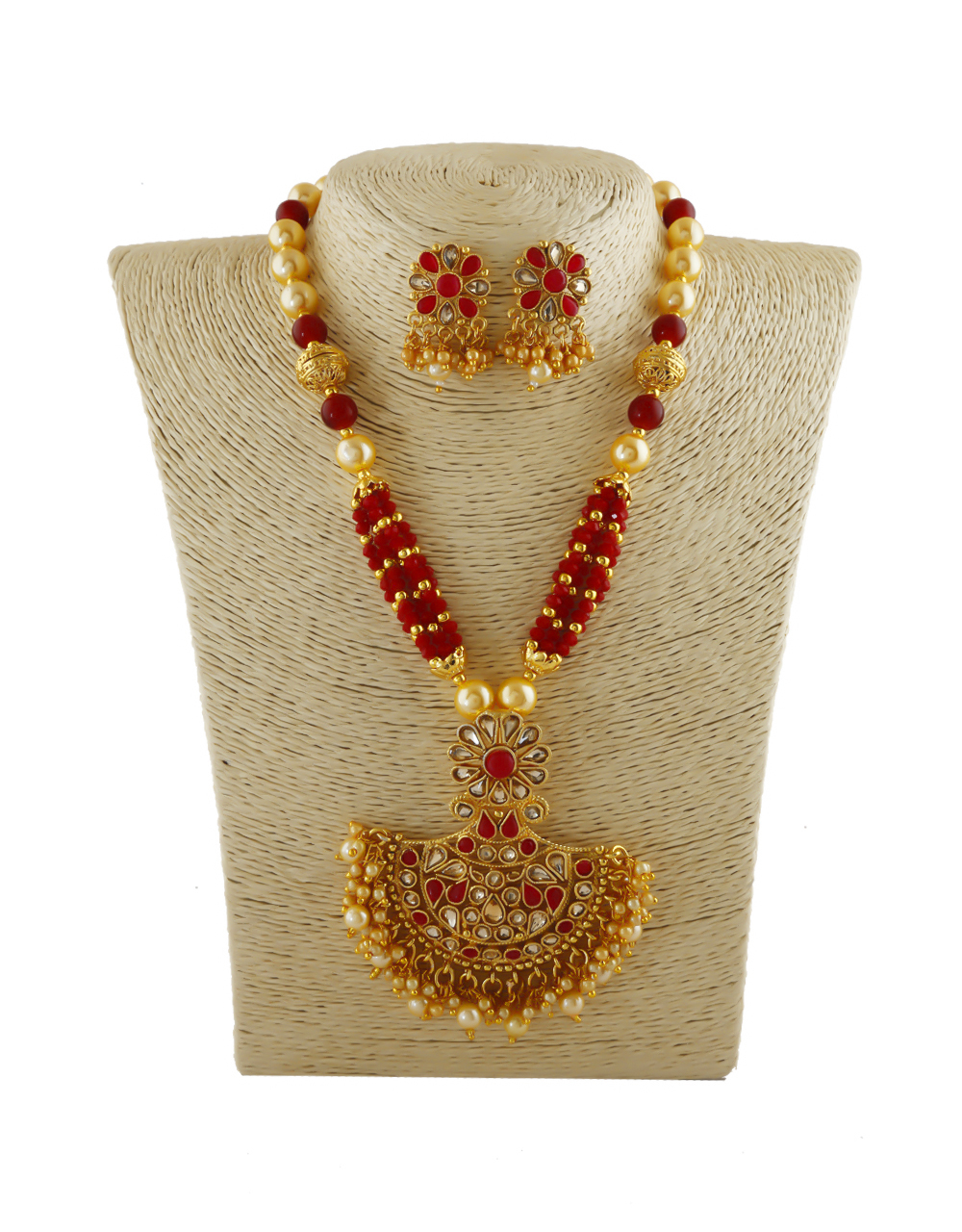 Red Colour Gold Finish Very Classy Pendant Set Jewellery For Girls