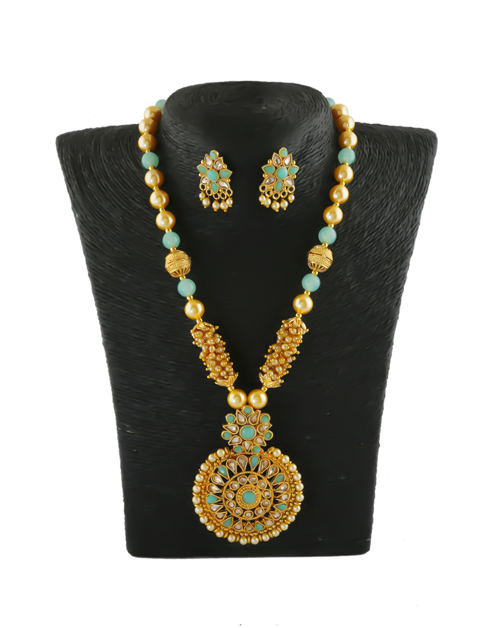 Green Colour Gold Finish Stunning Fancy Pendant Set