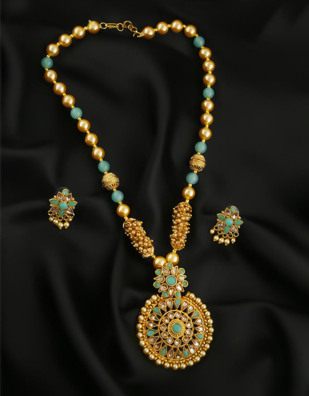 Green Colour Gold Finish Stunning Fancy Pendant Set