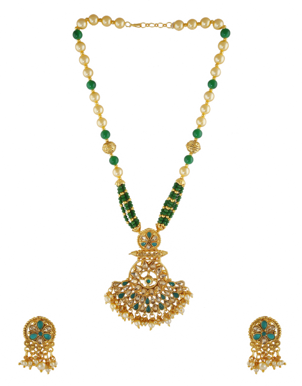 Gold Finish Dark Green Colour Pearls Styled Pendant Set