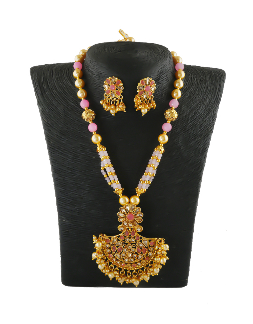 Baby-Pink Colour Gold Finish Pearls Styled Necklace Jewellery