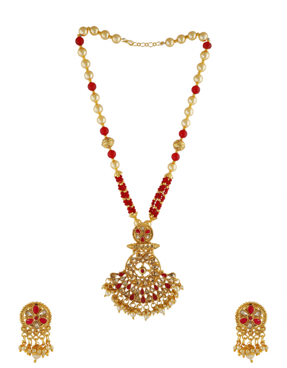 Red Colour Gold Finish Pearls Styled Fancy Necklace Jewellery