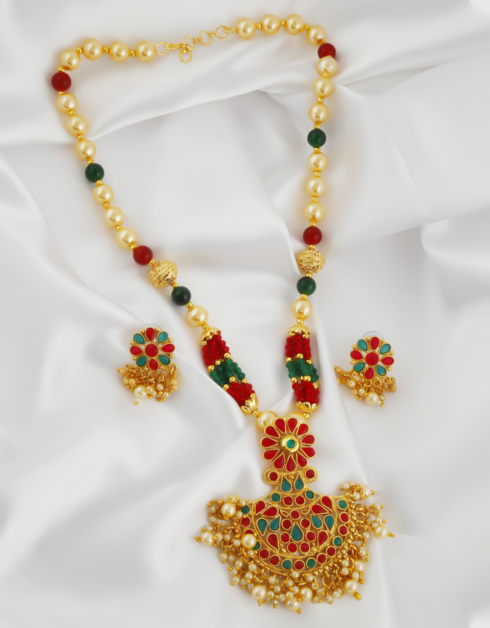 Multi Colour Gold Finish Studded With Stones Pendant Necklace