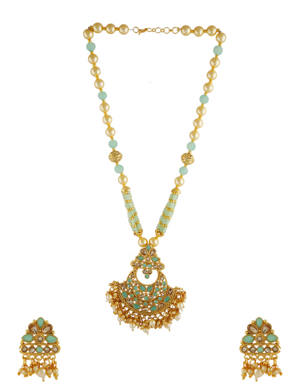 Pista-Green Colour Gold Finish Studded With Stones Necklace
