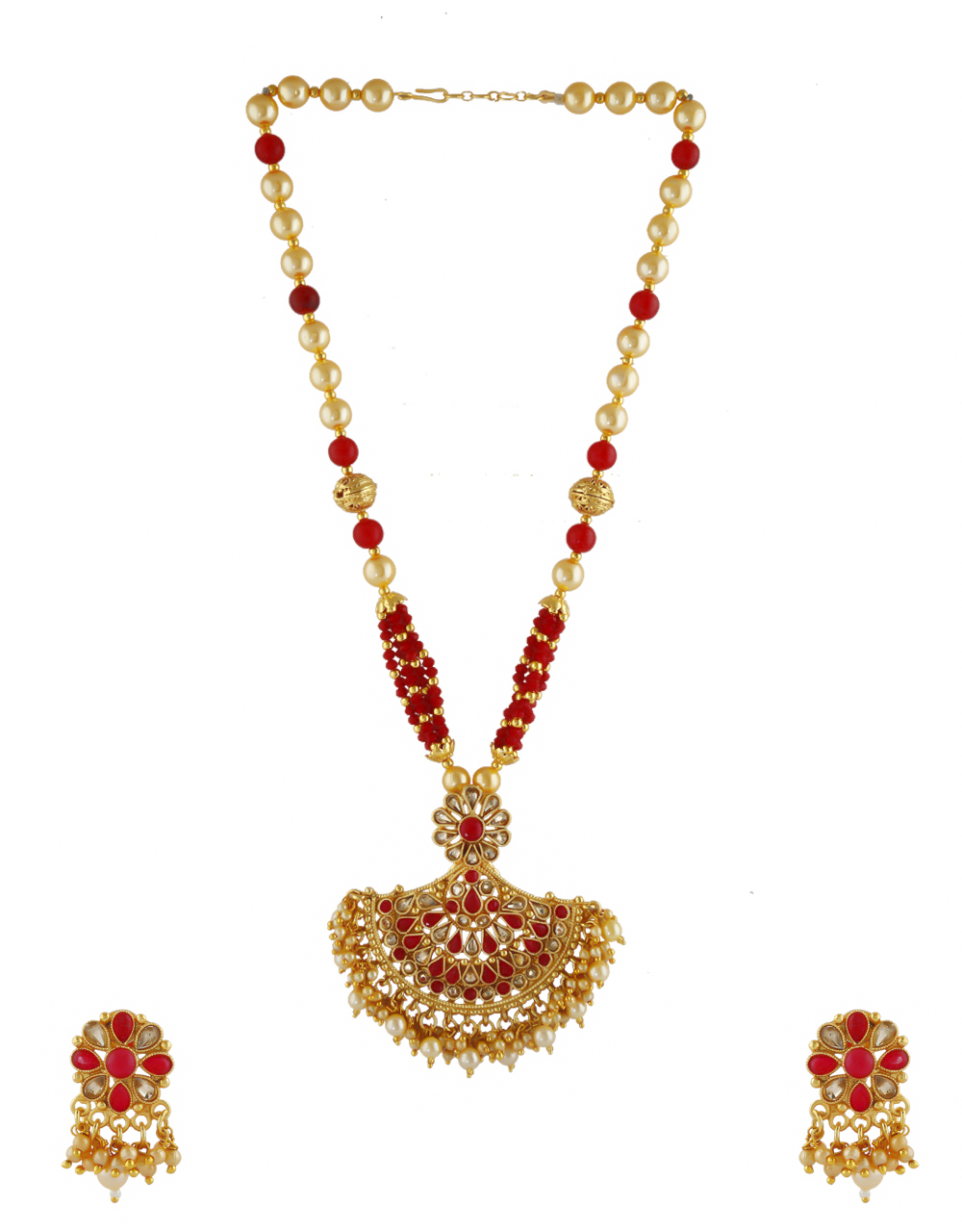 Unique Design Red Colour Gold Finish Pearls Styled Necklace