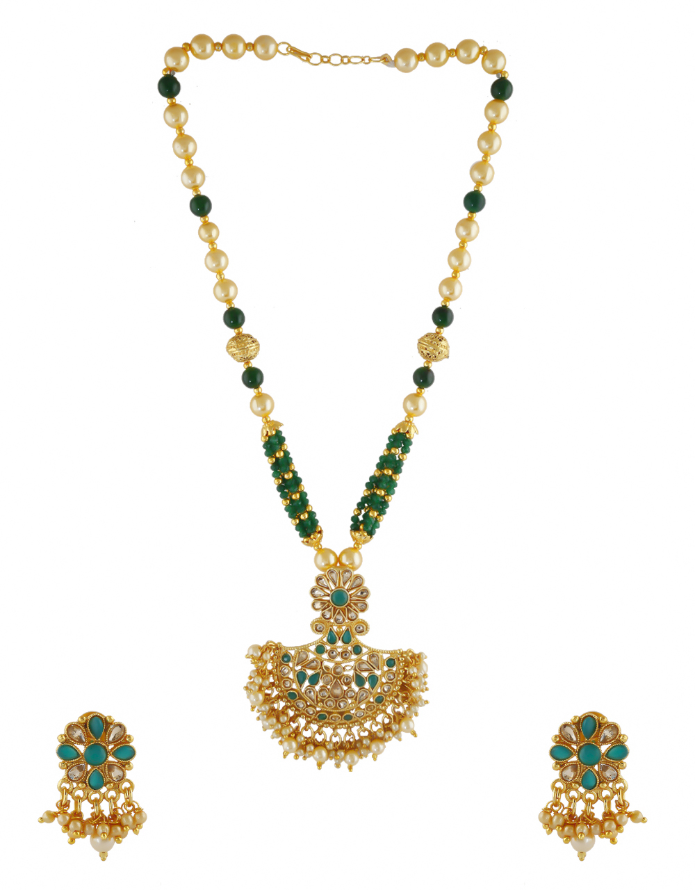 Green Colour Floral Design Beads Styled Pendant Set