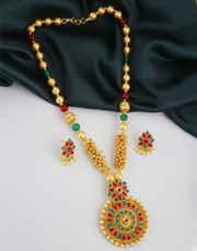 Multi Colour Gold Finish Stunning Pendant Set Jewellery