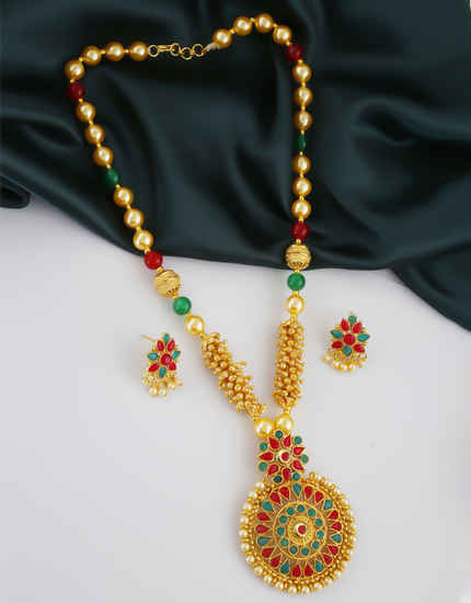 Multi Colour Gold Finish Stunning Pendant Set Jewellery