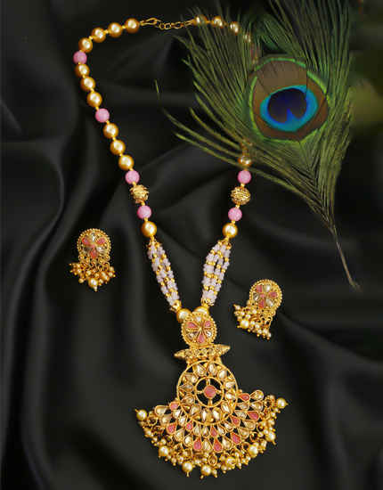 Pink Colour Gold Finish Moti Styled Pendant Necklace Set