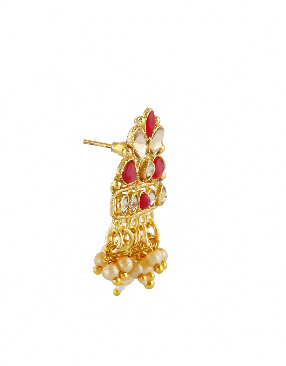 Maroon Colour Gold Finish Studded With Stones Fancy Pendant Set