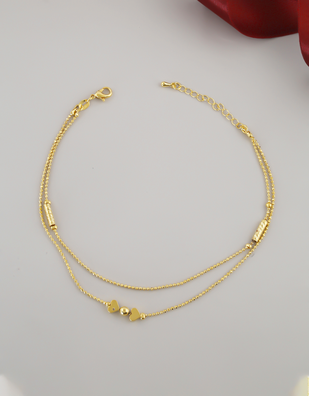 Gold Finish Layered Anklet For Fancy Wear