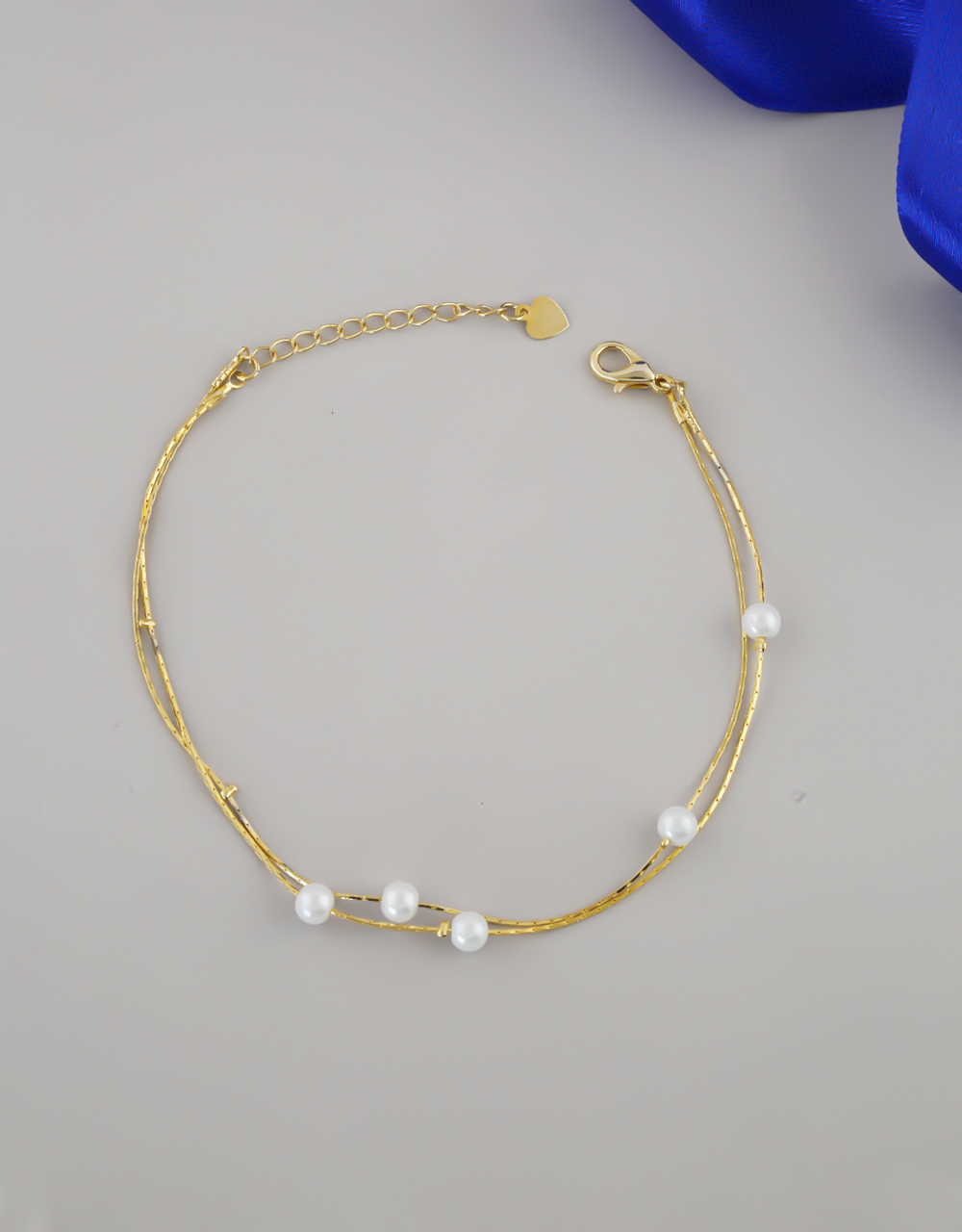 Gold Finish Pearls Styled Fancy Anklet Design