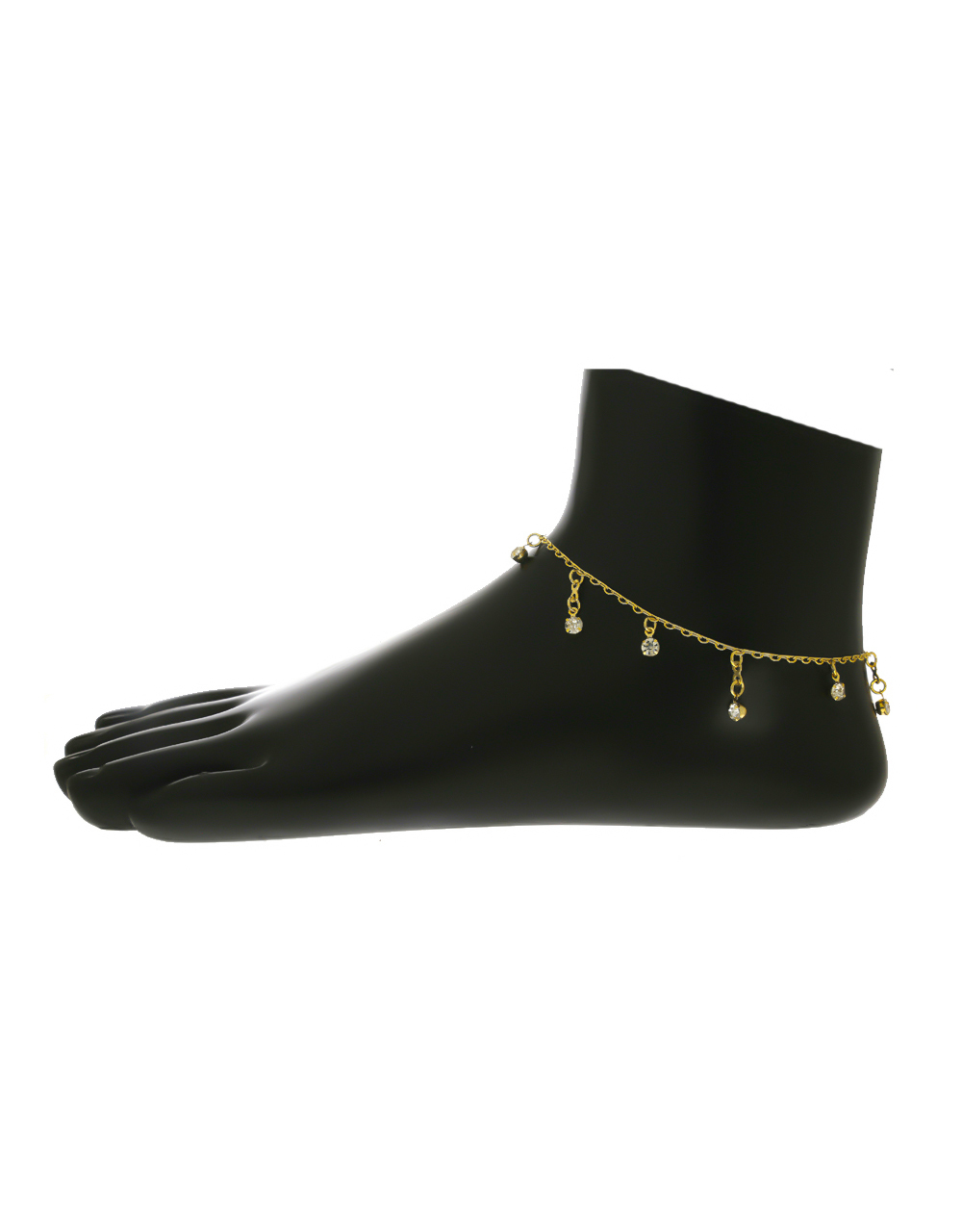 Gold Finish Studded With Stones Anklet