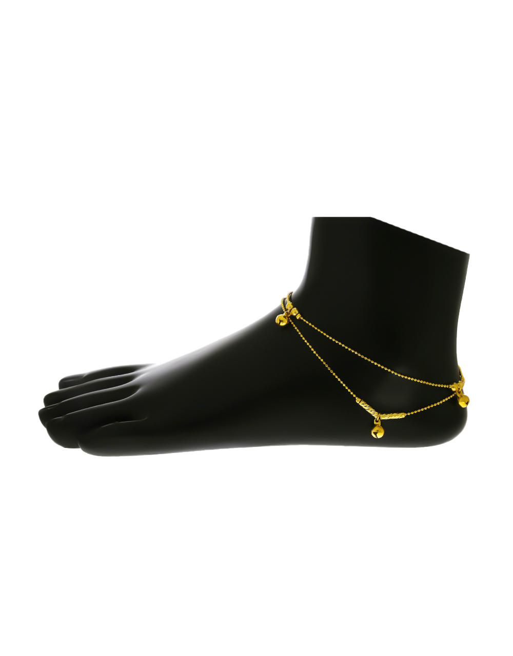 Fancy Gold Finish Layered Anklet For Girls
