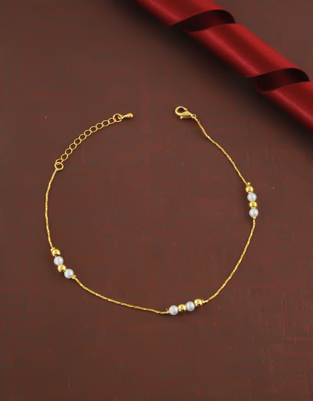 Gold Finish Pearls Styled Fancy Anklet Payal