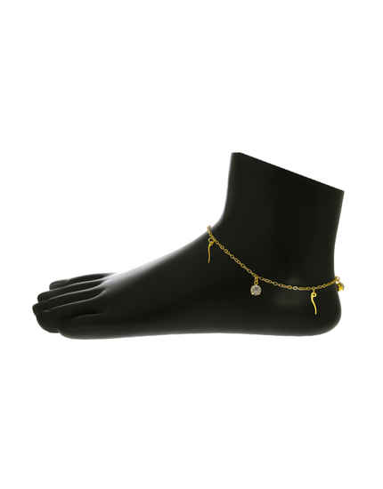 Gold Finish Stylish Anklet For Girls Fancy Wear