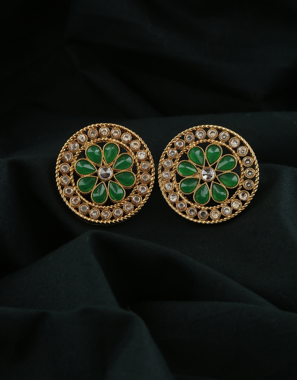 Green Colour Gold Finish Traditional Ear Tops