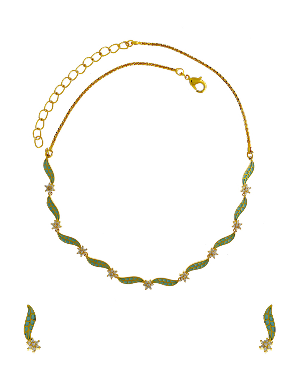 Green Colour Gold Finish American Diamond Fancy Necklace For Women