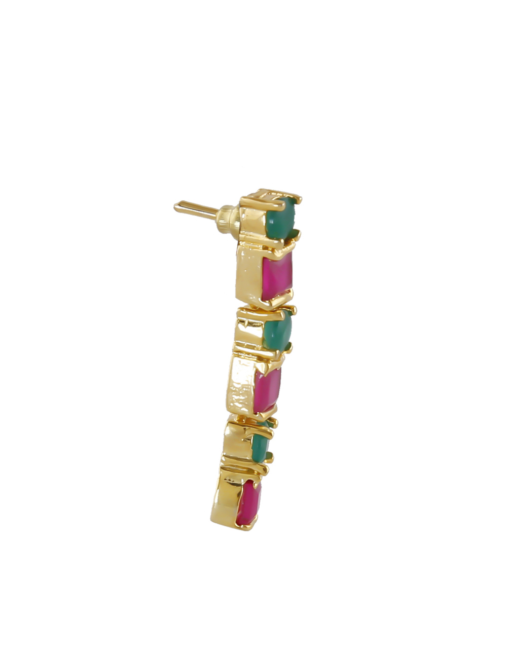 Multi Colour Gold Finish Studded With Ruby Stones Fancy Necklace