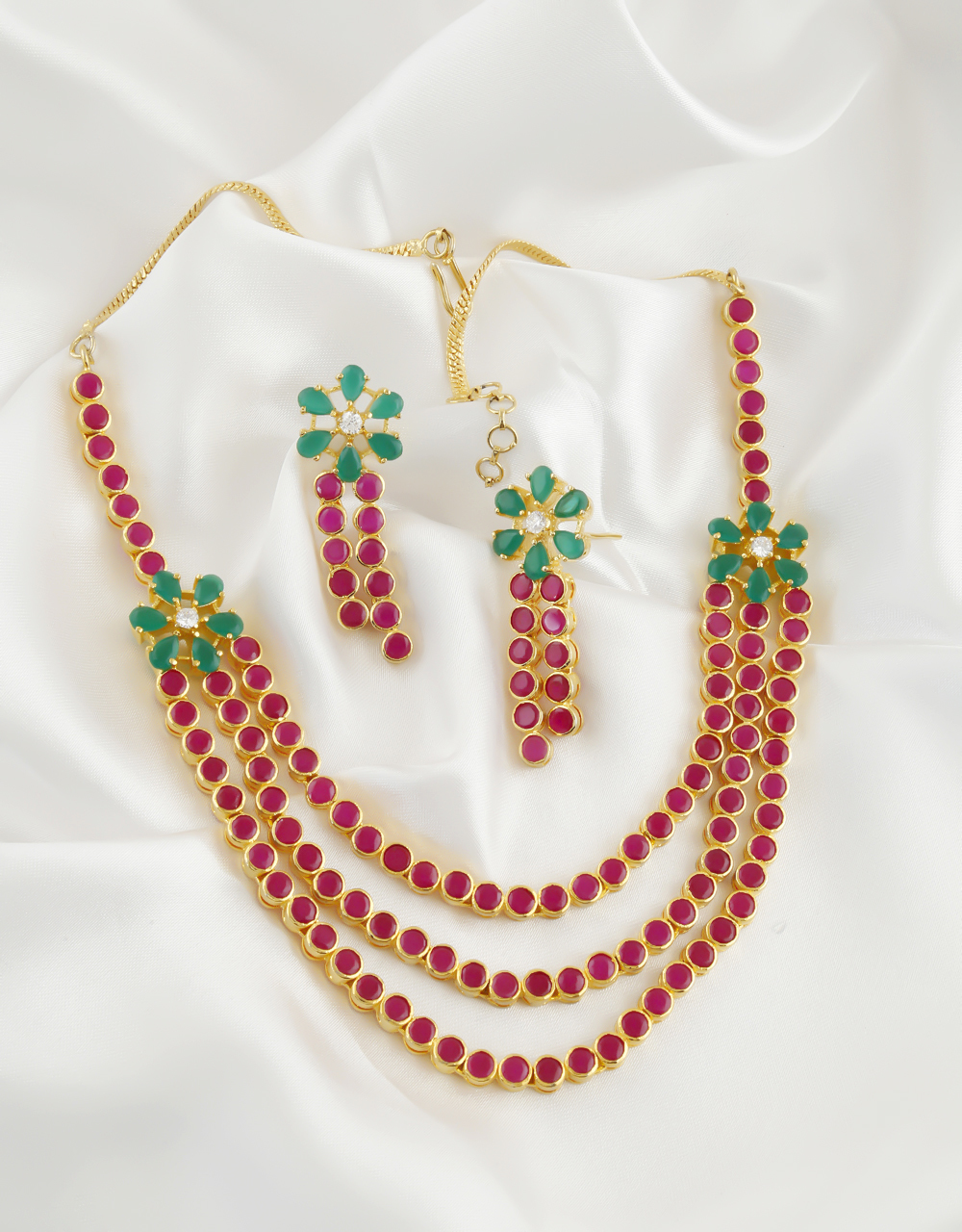 Red-Green Colour Gold Finish Floral Design Necklace