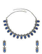 Blue Colour Oxidised Finish Fancy American Diamond Necklace For Girls
