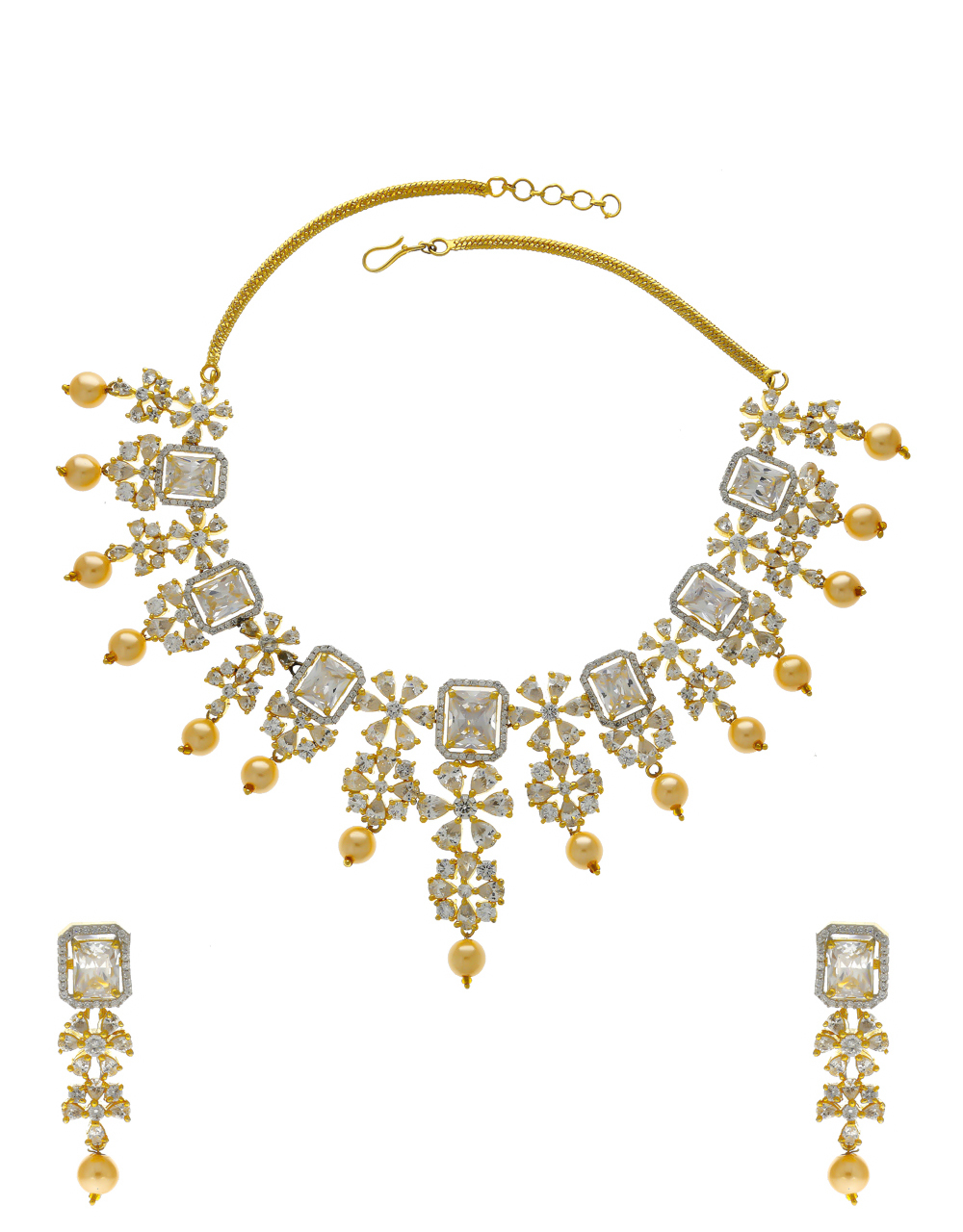 Gold Finish Party Wear American Diamond Necklace Styled With Pearls Beads Fancy Necklace