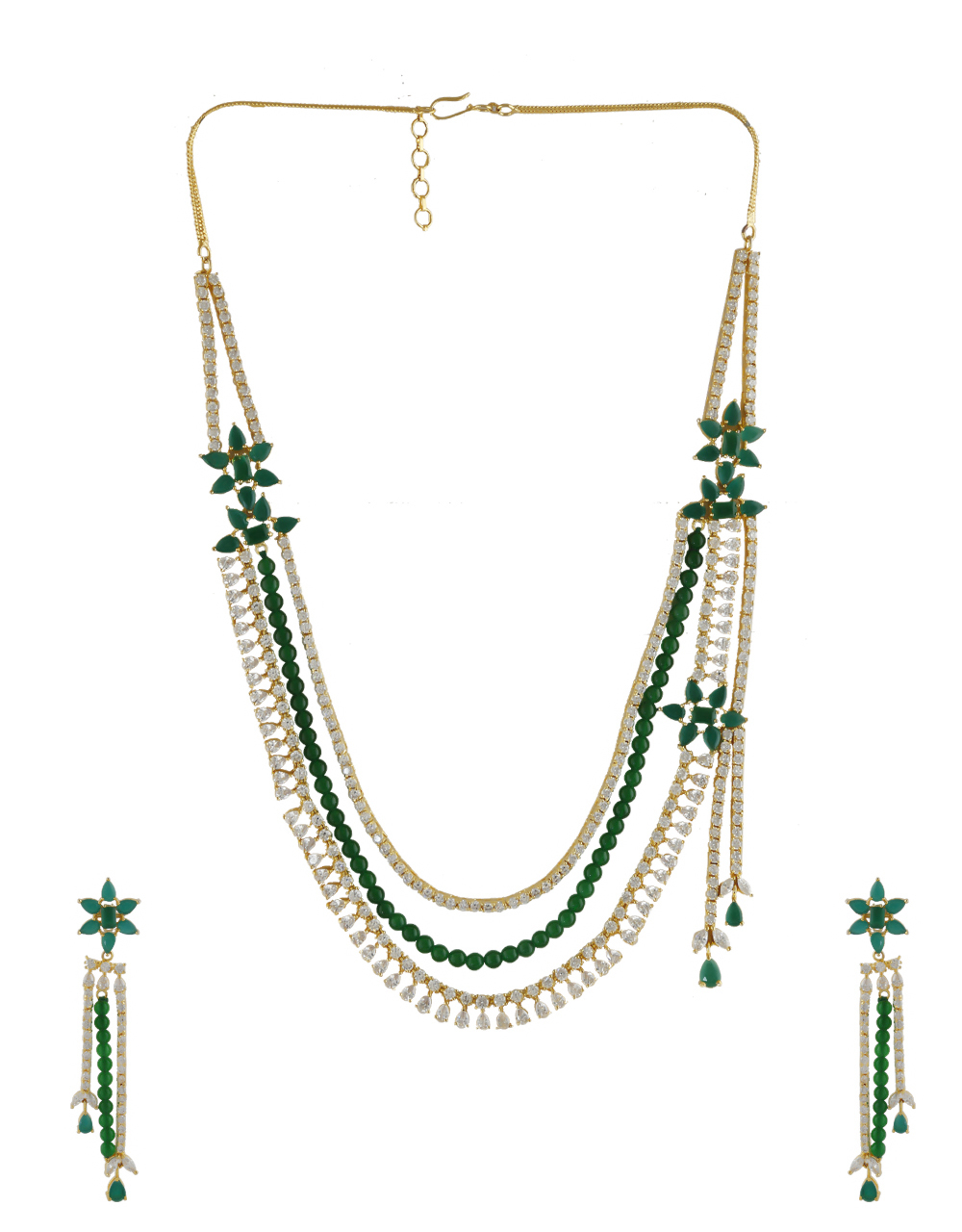 Green Colour Gold Finish Floral Design American Diamond Necklace