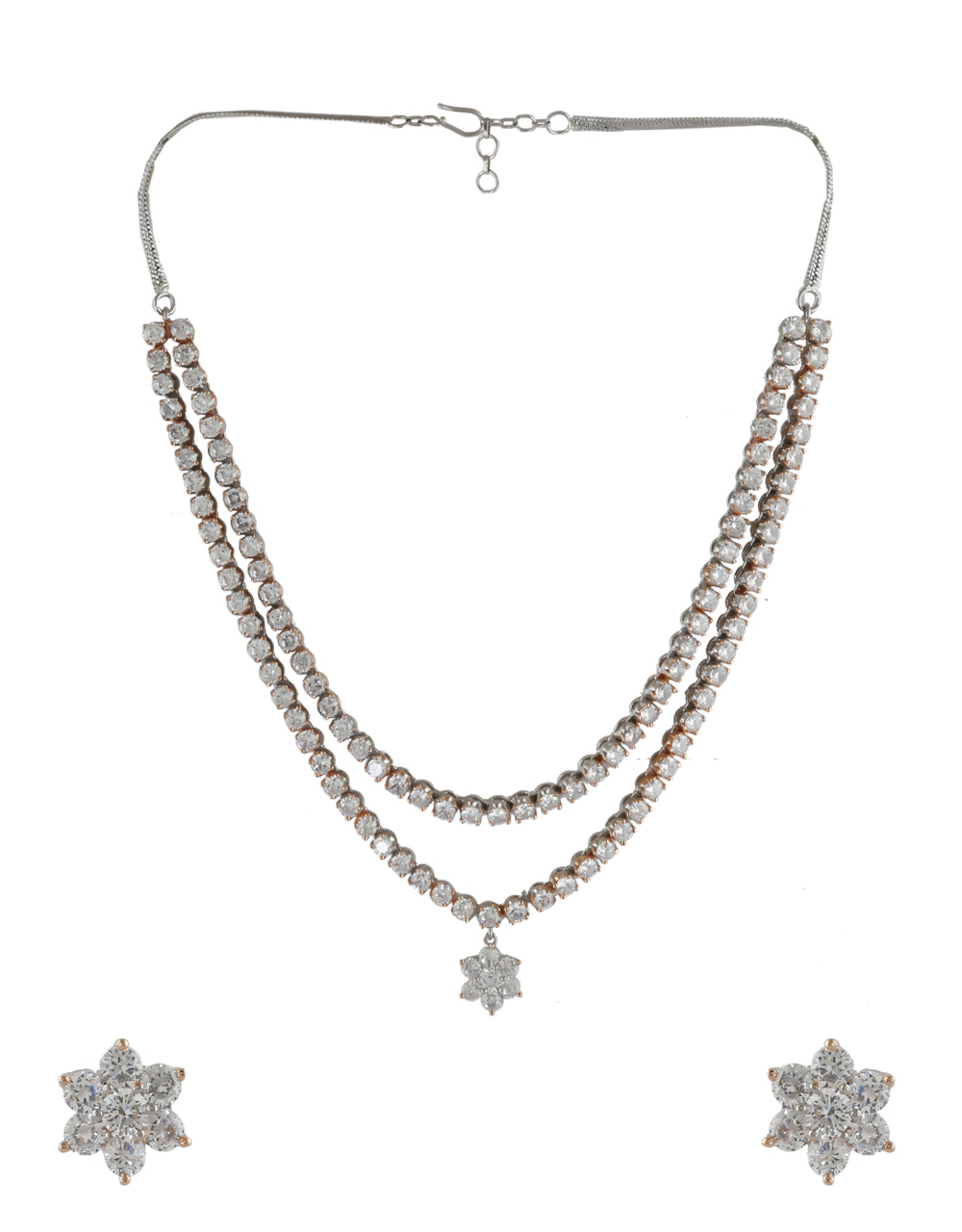 Western Wear Rose Gold Finish American Diamond Necklace For Girls